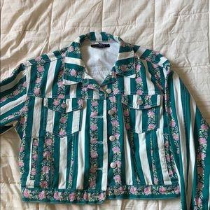 Floral striped jean jacket